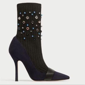 Zara blue suede heels w/knit embellished sock